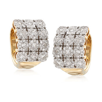 "2.00 ct. t.w. Diamond Three-Row Hoop Earrings in 14kt Yellow Gold. 5/8"", , default"