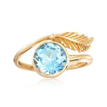 2.50 Carat Blue Topaz Bezel Leaf Ring in 14kt Yellow Gold , , default