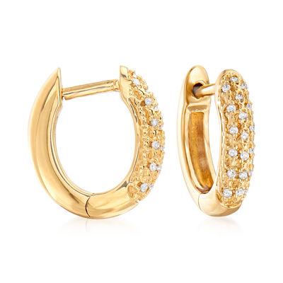 .10 ct. t.w. Diamond Huggie Hoop Earrings in 18kt Gold Over Sterling, , default