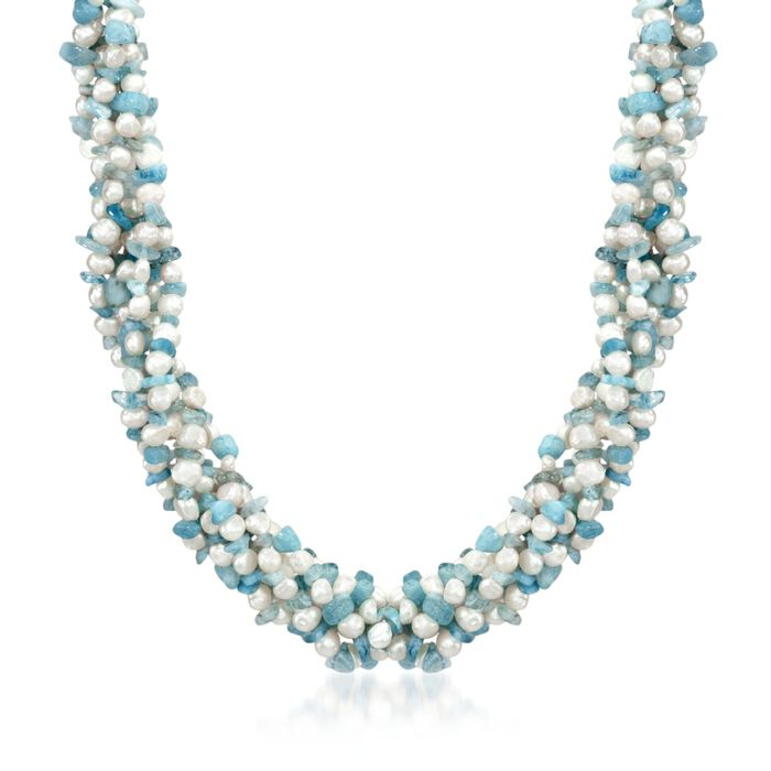 Aquamarine Bead and 5-6mm Cultured Pearl Torsade Necklace with Free Bracelet