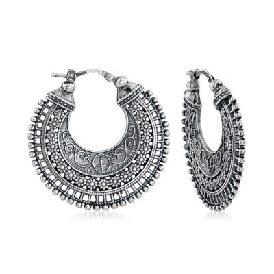 Italian Embellished Hoop Earrings in Sterling Silver, , default