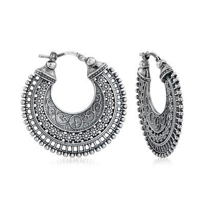 Italian Embellished Hoop Earrings in Sterling Silver, , default