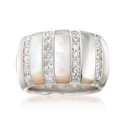 "Belle Etoile ""Regal"" Mother-Of-Pearl and .70 ct. t.w. CZ Ring in Sterling Silver, , default"
