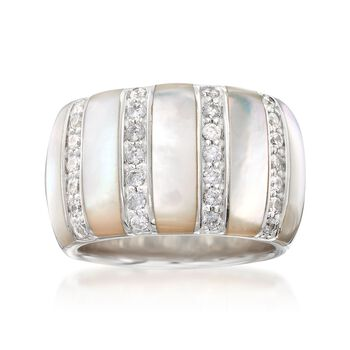 """Belle Etoile """"Regal"""" Mother-Of-Pearl and .70 ct. t.w. CZ Ring in Sterling Silver. Size 7, , default"""