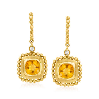 C. 1980 Vintage 1.40 ct. t.w. Citrine Drop Earrings with Diamond Accents in 14kt Yellow Gold