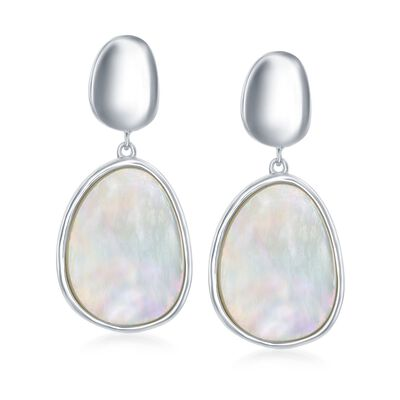 Mother-Of-Pearl and Sterling Silver Drop Earrings, , default