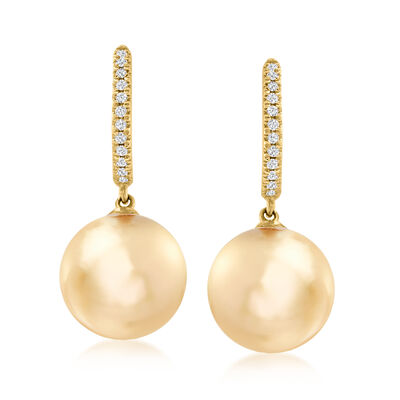 10-11mm Golden South Sea Pearl and .11 ct. t.w. Diamond Hoop Drop Earrings in 14kt Yellow Gold