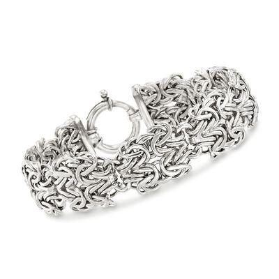 Sterling Silver Double-Byzantine Link Bracelet, , default