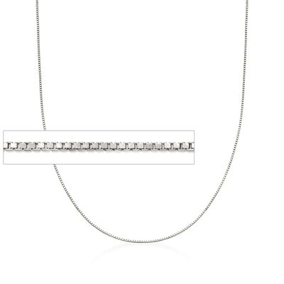 Italian 1mm Sterling Silver Box Chain Necklace, , default