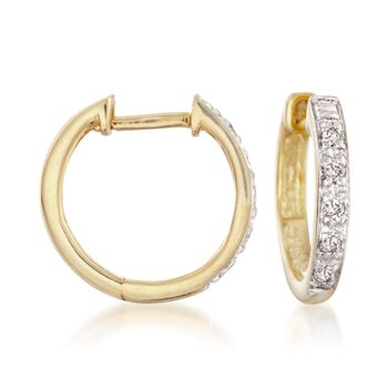 "Diamond Accent Huggie Hoop Earrings in 14kt Gold Over Sterling. 3/8"", , default"