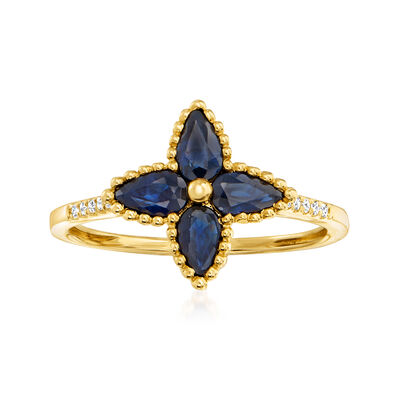 1.20 ct. t.w. Sapphire Flower Ring with Diamond Accents in 14kt Yellow Gold