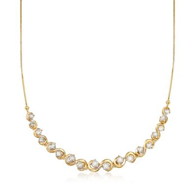 1.00 ct. t.w. Diamond Curved Station Necklace in 14kt Yellow Gold, , default