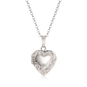"""Child's Sterling Silver Heart Locket With Chain. 15"""", , default"""