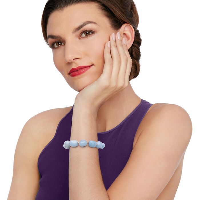 Blue Aquamarine Bead Stretch Bracelet with 14kt Yellow Gold