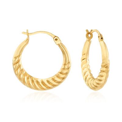 14kt Yellow Gold Spiral-Design Hoop Earrings