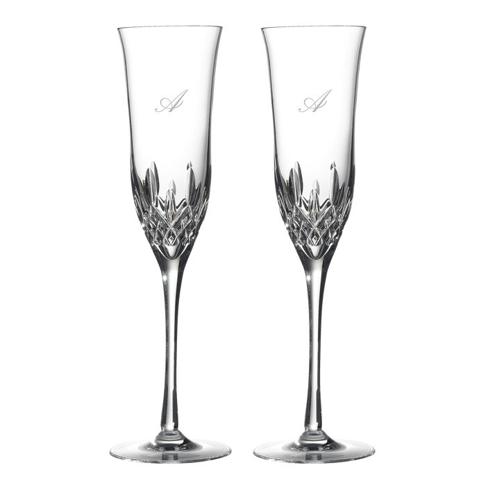 """Waterford Crystal """"Lismore Essence"""" Set of 2 Script Initial Toasting Flutes"""