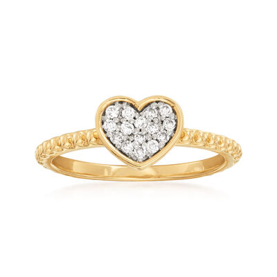 .14 ct. t.w. Diamond Heart Ring in 14kt Yellow Gold