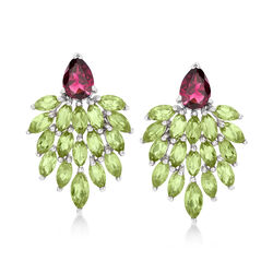 5.00 ct. t.w. Peridot and 1.70 ct. t.w. Rhodolite Cluster Drop Earrings in Sterling Silver , , default