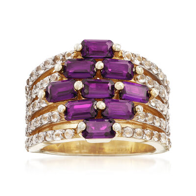 3.40 ct. t.w. Amethyst and .60 ct. t.w. White Topaz Multi-Row Ring in 18kt Gold Over Sterling, , default