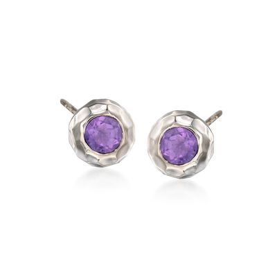 "Zina Sterling Silver ""Ripples"" .80 ct. t.w. Amethyst Stud Earrings"