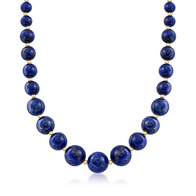 6-14mm Lapis Graduated Necklace in 14kt Yellow Gold, , default