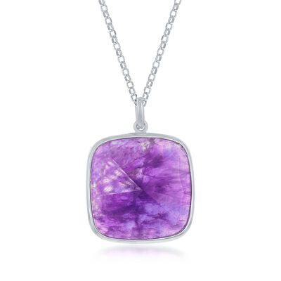 19.00 Carat Amethyst Pendant Necklace in Sterling Silver