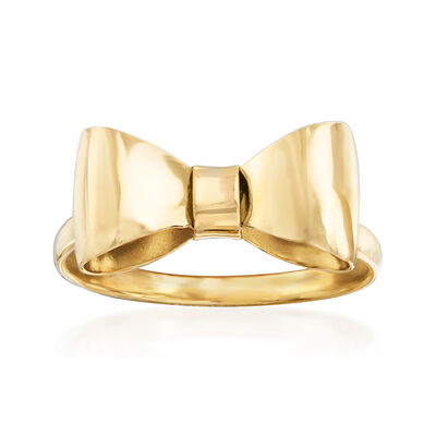 Italian 14kt Yellow Gold Bow Ring, , default