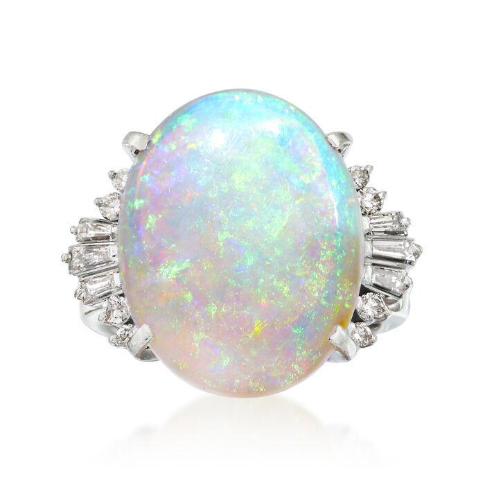 C. 1970 Vintage Opal and .39 ct. t.w. Diamond Ring in Platinum. Size 5.5, , default