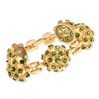 C. 1970 Vintage 15.65 ct. t.w. Green Tourmaline Ball Bracelet in 18kt Yellow Gold, , default