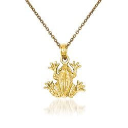 "14kt Yellow Gold Frog Pendant Necklace. 18"", , default"