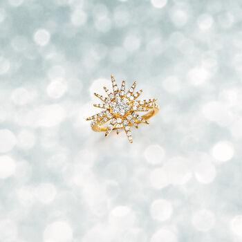 1.00 ct. t.w. Diamond Starburst Ring in 14kt Yellow Gold
