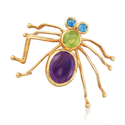C. 1980 Vintage 2.81 ct. t.w. Multi-Gemstone Spider Pin in 14kt Yellow Gold, , default