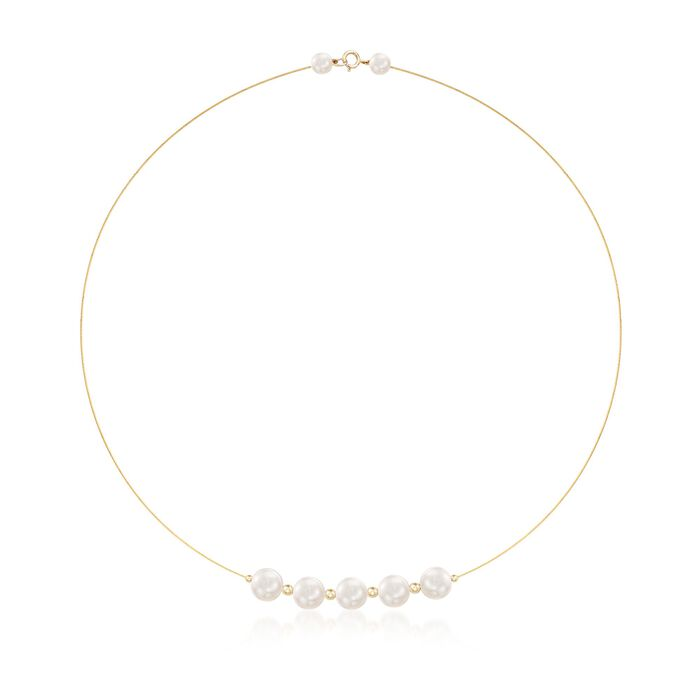 9-9.5mm Cultured Pearl Station Wire Necklace in 14kt Yellow Gold, , default