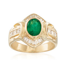 C. 1990 Vintage 1.05 Carat Emerald and .80 ct. t.w. Diamond Ring in 14kt Yellow Gold, , default