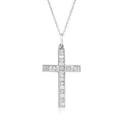 C. 1990 Vintage 1.05 ct. t.w. Diamond Cross Pendant Necklace in 14kt White Gold, , default