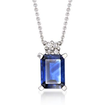 "1.15 Carat Sapphire Pendant Necklace With Diamond Accents in 14kt White Gold. 16"", , default"