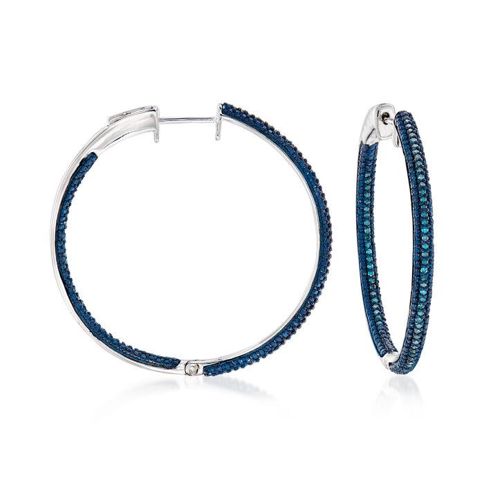 .50 ct. t.w. Blue Diamond Inside-Outside Hoop Earrings in Sterling Silver