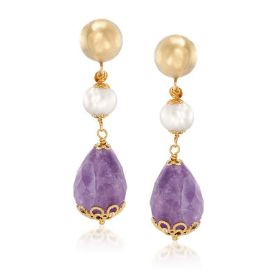 Italian 9x9.5mm Cultured Oval Pearl and 60.00 ct. t.w. Amethyst Briolette Drop Earrings in 18kt Gold Over Sterling, , default