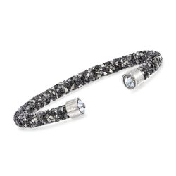 "Swarovski Crystal ""Dust"" Black and Gray Crystal Cuff Bracelet in Stainless Steel, , default"