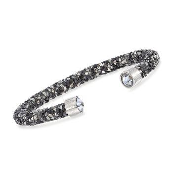 "Swarovski Crystal ""Dust"" Black and Gray Crystal Cuff Bracelet in Stainless Steel. 7"", , default"