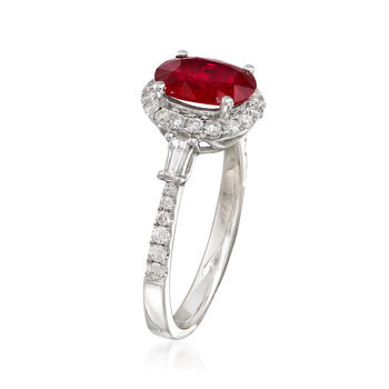 1.60 Carat Ruby and .50 ct. t.w. Diamond Ring in 18kt White Gold, , default