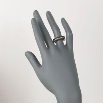 """ALOR """"Noir"""" Black and Yellow Stainless Steel Cable Ring. Size 7, , default"""