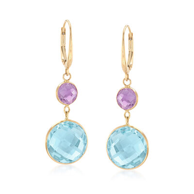 14.00 ct. t.w. Blue Topaz and 1.60 ct. t.w. Amethyst Drop Earrings in 14kt Yellow Gold, , default