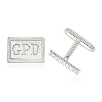 14kt White Gold Laser Recessed Letters Rectangle Monogram Cuff Links, , default
