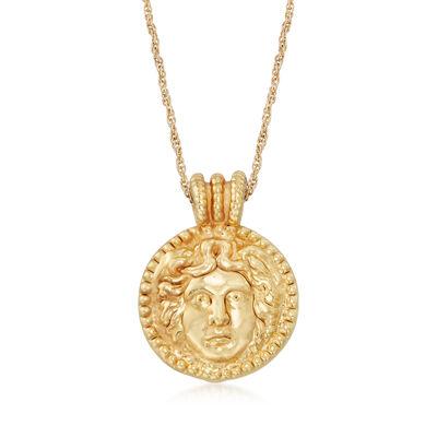 Italian 14kt Yellow Gold Etruscan Portrait Pendant Necklace, , default