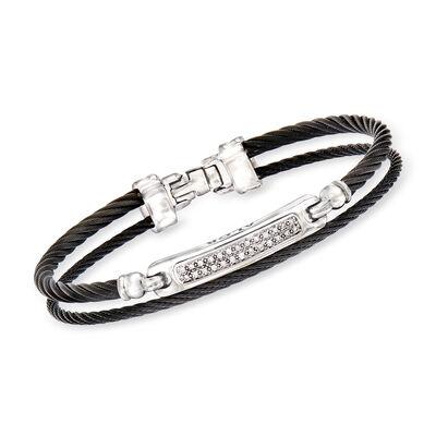 "ALOR ""Noir"" .13 ct. t.w. Diamond Black Stainless Steel Cable Bracelet with 18kt White Gold, , default"