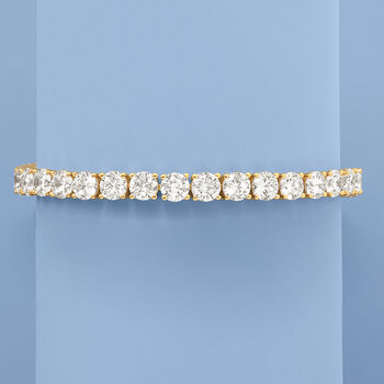 23.00 ct. t.w. CZ Tennis Bracelet in 18kt Gold Over Sterling, , default