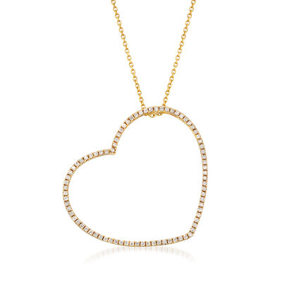 .57 ct. t.w. Diamond Open-Space Heart Pendant Necklace in 14kt Yellow Gold, , default