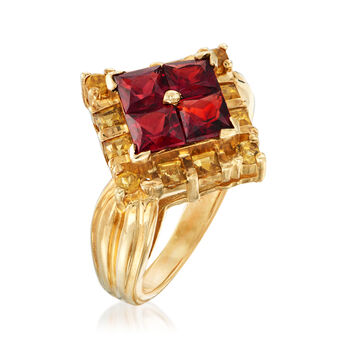 C. 1970 Vintage 1.80 ct. t.w. Garnet and .67 ct. t.w. Citrine Ring in 10kt Yellow Gold. Size 5, , default