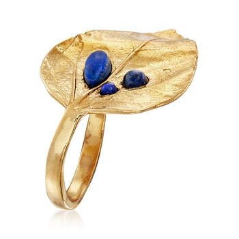 Lapis Leaf Ring in 18kt Gold Over Sterling, , default